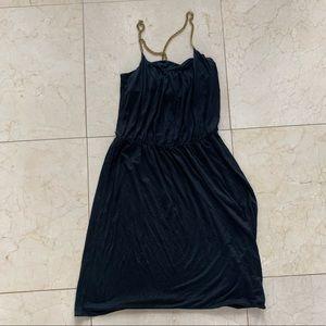 Banana Republic Silk Black and Gold Chain Dress